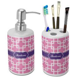 Linked Squares Bathroom Accessories Set (Ceramic) (Personalized)