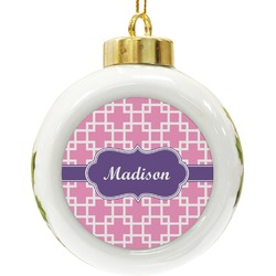Linked Squares Ceramic Ball Ornament (Personalized)
