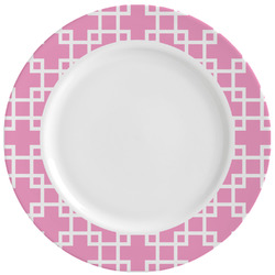 Linked Squares Ceramic Dinner Plates (Set of 4) (Personalized)