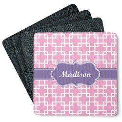 Linked Squares 4 Square Coasters - Rubber Backed (Personalized)