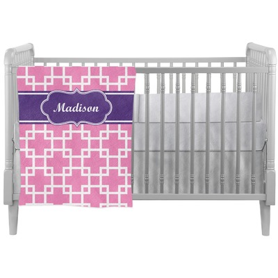Linked Squares Crib Comforter / Quilt (Personalized)
