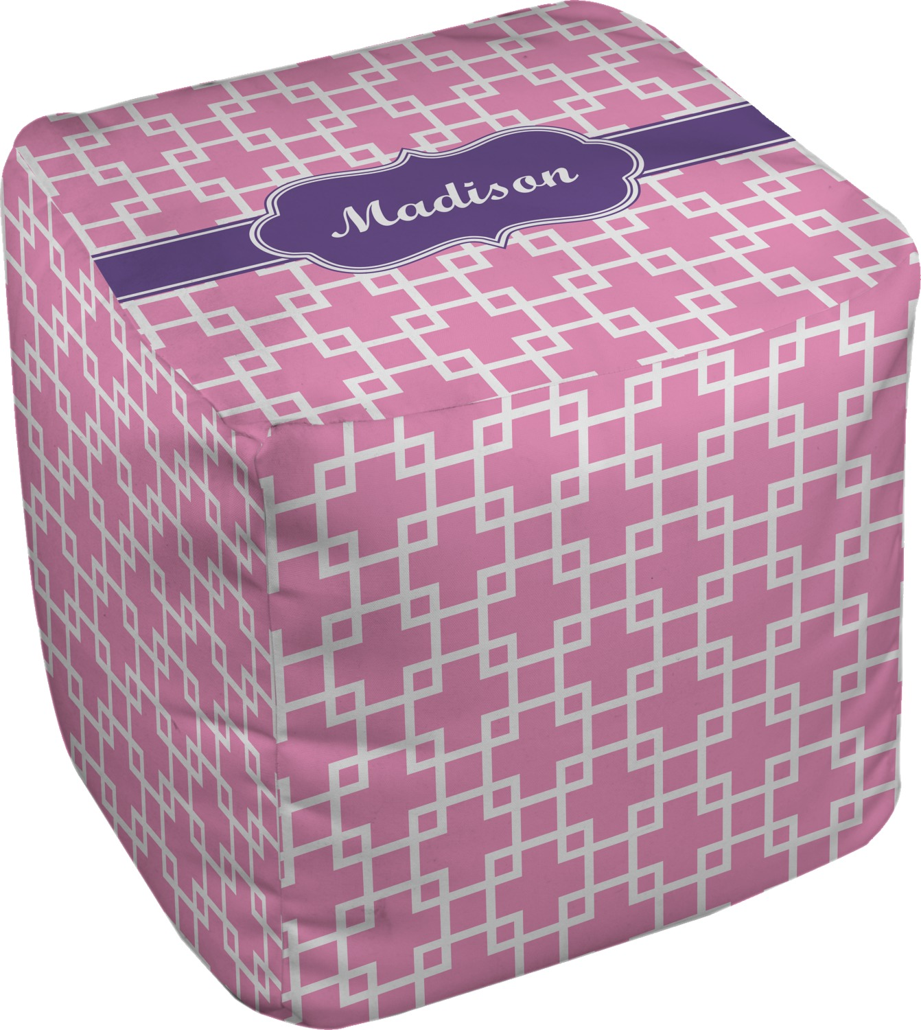 Linked Squares Cube Pouf Ottoman 13 Personalized