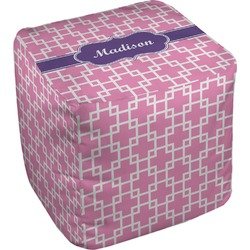 """Linked Squares Cube Pouf Ottoman - 18"""" (Personalized)"""