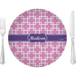 """Linked Squares 10"""" Glass Lunch / Dinner Plates - Single or Set (Personalized)"""