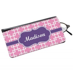 Linked Squares Genuine Leather Eyeglass Case (Personalized)