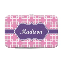 Linked Squares Genuine Leather Small Framed Wallet (Personalized)