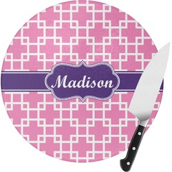 Linked Squares Round Glass Cutting Board (Personalized)