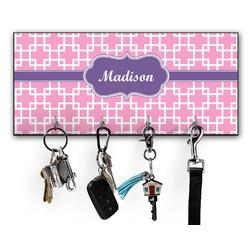 Linked Squares Key Hanger w/ 4 Hooks (Personalized)