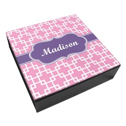 Linked Squares Leatherette Keepsake Box - 3 Sizes (Personalized)