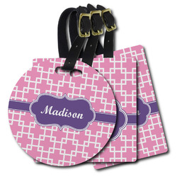 Linked Squares Plastic Luggage Tags (Personalized)