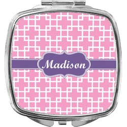 Linked Squares Compact Makeup Mirror (Personalized)