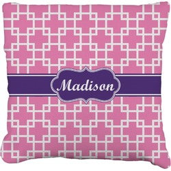 Linked Squares Faux-Linen Throw Pillow (Personalized)