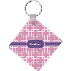 Linked Squares Diamond Key Chain (Personalized)