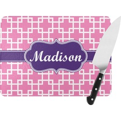 Linked Squares Rectangular Glass Cutting Board (Personalized)