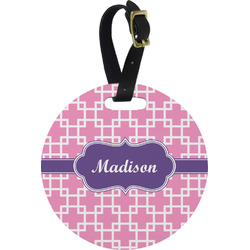 Linked Squares Round Luggage Tag (Personalized)