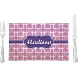 Linked Squares Rectangular Glass Lunch / Dinner Plate - Single or Set (Personalized)