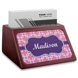 Linked Squares Red Mahogany Business Card Holder (Personalized)