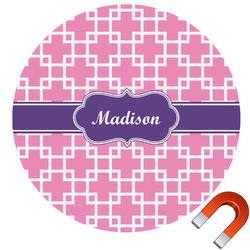 Linked Squares Round Car Magnet (Personalized)