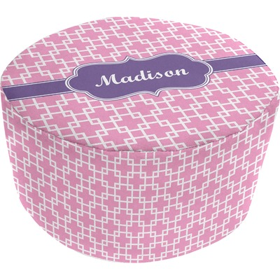 Linked Squares Round Pouf Ottoman (Personalized)