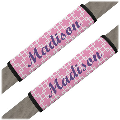 Linked Squares Seat Belt Covers (Set of 2) (Personalized)