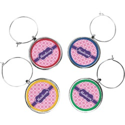 Linked Squares Wine Charms (Set of 4) (Personalized)
