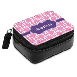 Linked Squares Small Leatherette Travel Pill Case (Personalized)