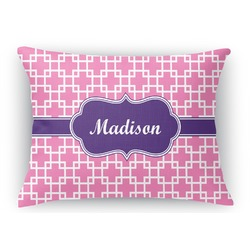 Linked Squares Rectangular Throw Pillow (Personalized)