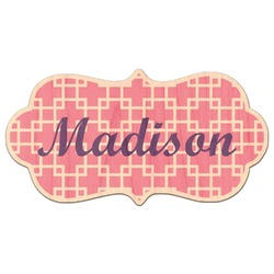 Linked Squares Genuine Maple or Cherry Wood Sticker (Personalized)