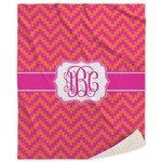 Pink & Orange Chevron Sherpa Throw Blanket (Personalized)