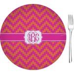 "Pink & Orange Chevron Glass Appetizer / Dessert Plates 8"" - Single or Set (Personalized)"