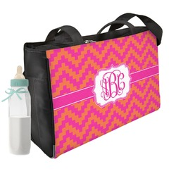 Pink & Orange Chevron Diaper Bag w/ Monogram