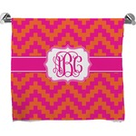 Pink & Orange Chevron Full Print Bath Towel (Personalized)