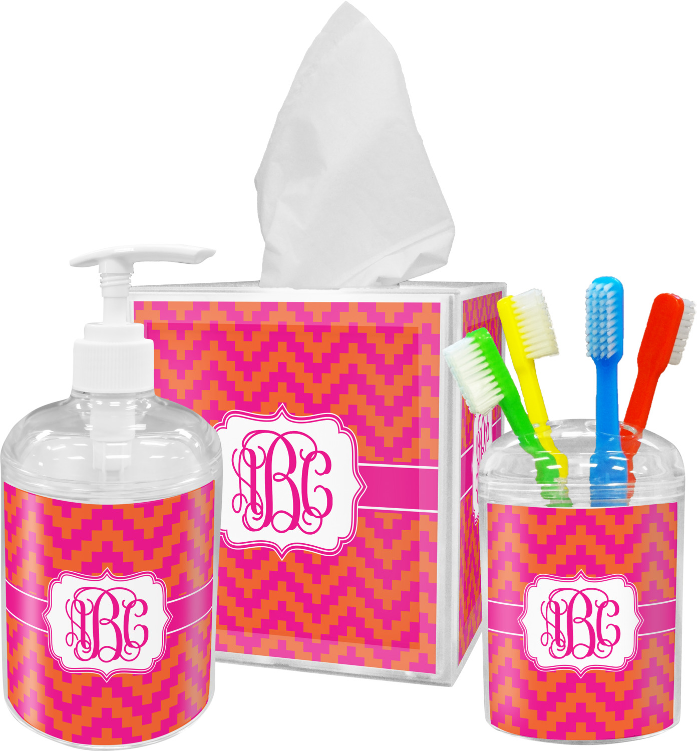 chevron bathroom set. Pink  Orange Chevron Bathroom Accessories Set Personalized