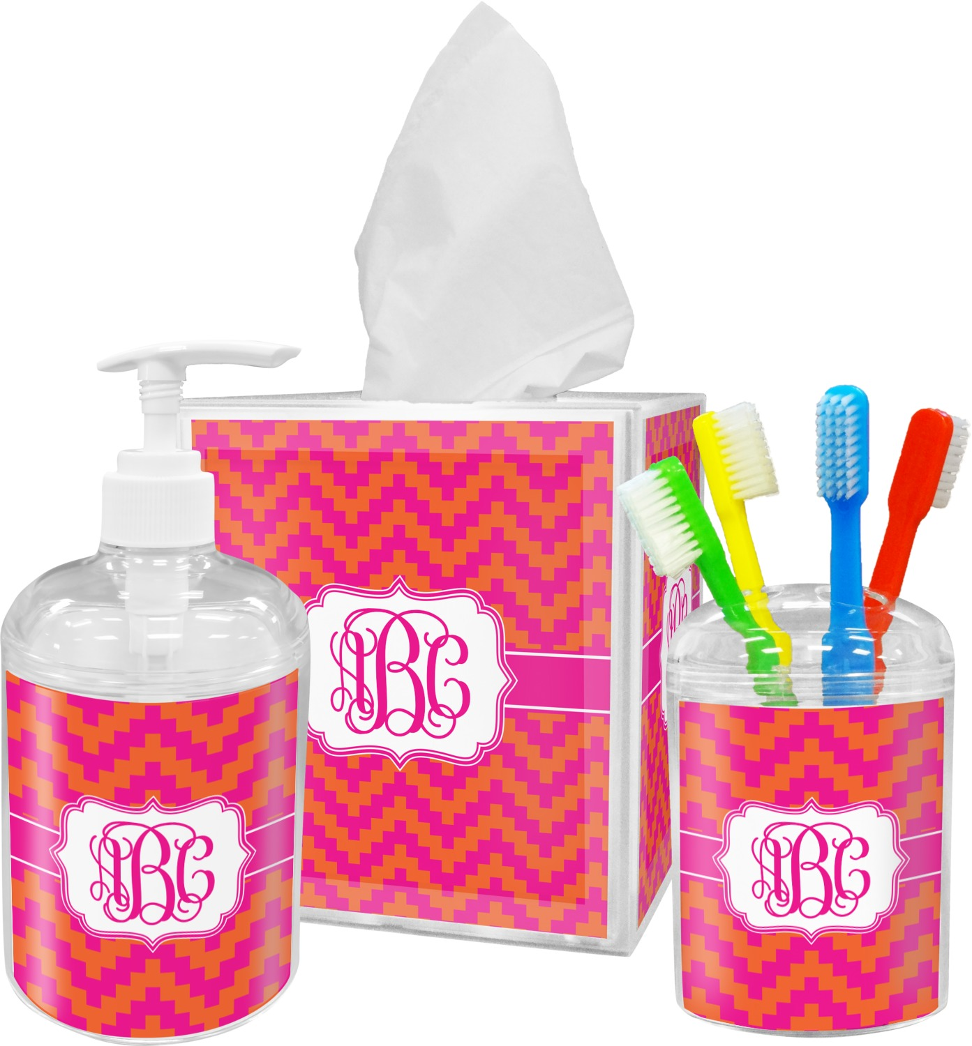 Plastic bathroom sets - Pink Orange Chevron Bathroom Accessories Set Personalized