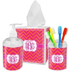 Pink & Orange Chevron Bathroom Accessories Set (Personalized)
