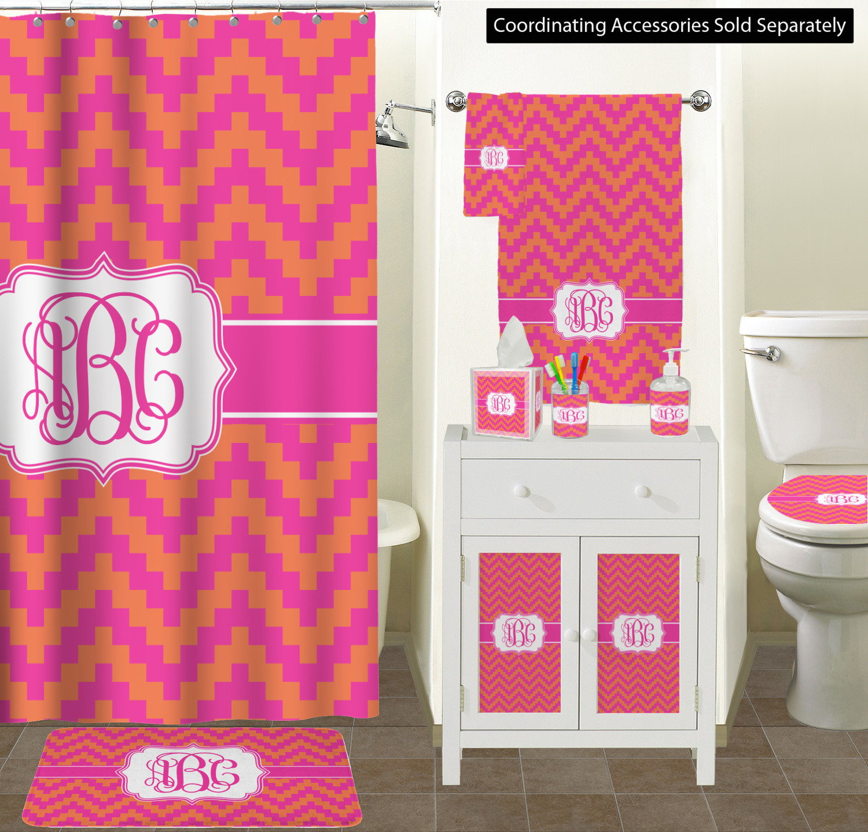 ... Set (Personalized) Pink & Orange Chevron Bathroom Scene ...