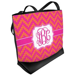 Pink & Orange Chevron Beach Tote Bag (Personalized)