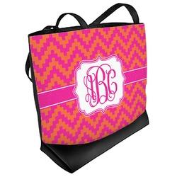 Pink & Orange Chevron Beach Tote Bag (Personalized)