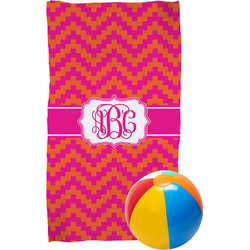 Pink & Orange Chevron Beach Towel (Personalized)
