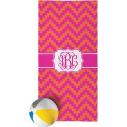 Pink & Orange Chevron Beach Towel (Personalized)