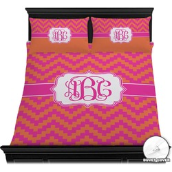Pink & Orange Chevron Duvet Cover Set (Personalized)