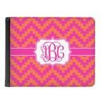 Pink & Orange Chevron Genuine Leather Men's Bi-fold Wallet (Personalized)