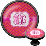 Pink & Orange Chevron Cabinet Knob (Black) (Personalized)