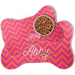Pink & Orange Chevron Bone Shaped Dog Food Mat (Personalized)