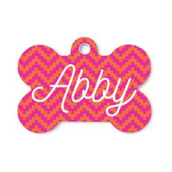 Pink & Orange Chevron Bone Shaped Dog ID Tag (Personalized)