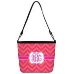 Pink & Orange Chevron Bucket Bag w/ Genuine Leather Trim (Personalized)