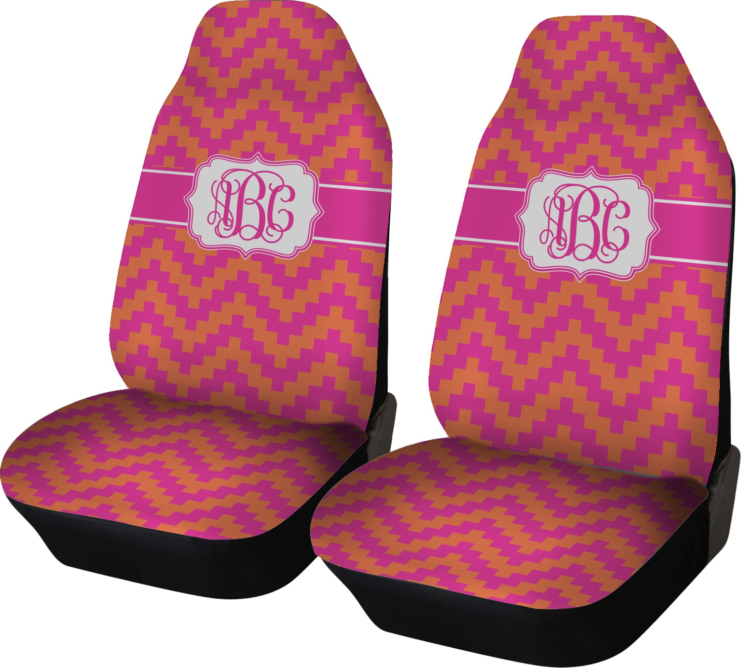 Pink Orange Chevron Car Seat Covers Set Of Two Personalized