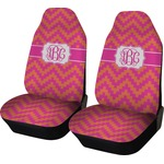 Pink & Orange Chevron Car Seat Covers (Set of Two) (Personalized)