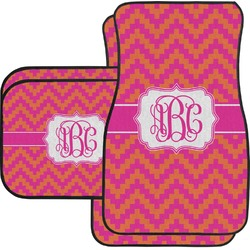 Pink & Orange Chevron Car Floor Mats Set - 2 Front & 2 Back (Personalized)