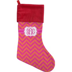 Pink & Orange Chevron Christmas Stocking (Personalized)
